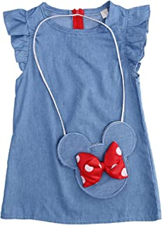 Baby Girl Ruffle Sleeve Shabby Denim Dress and Cross Body Mini Coin Bag 2 pcs Outfit