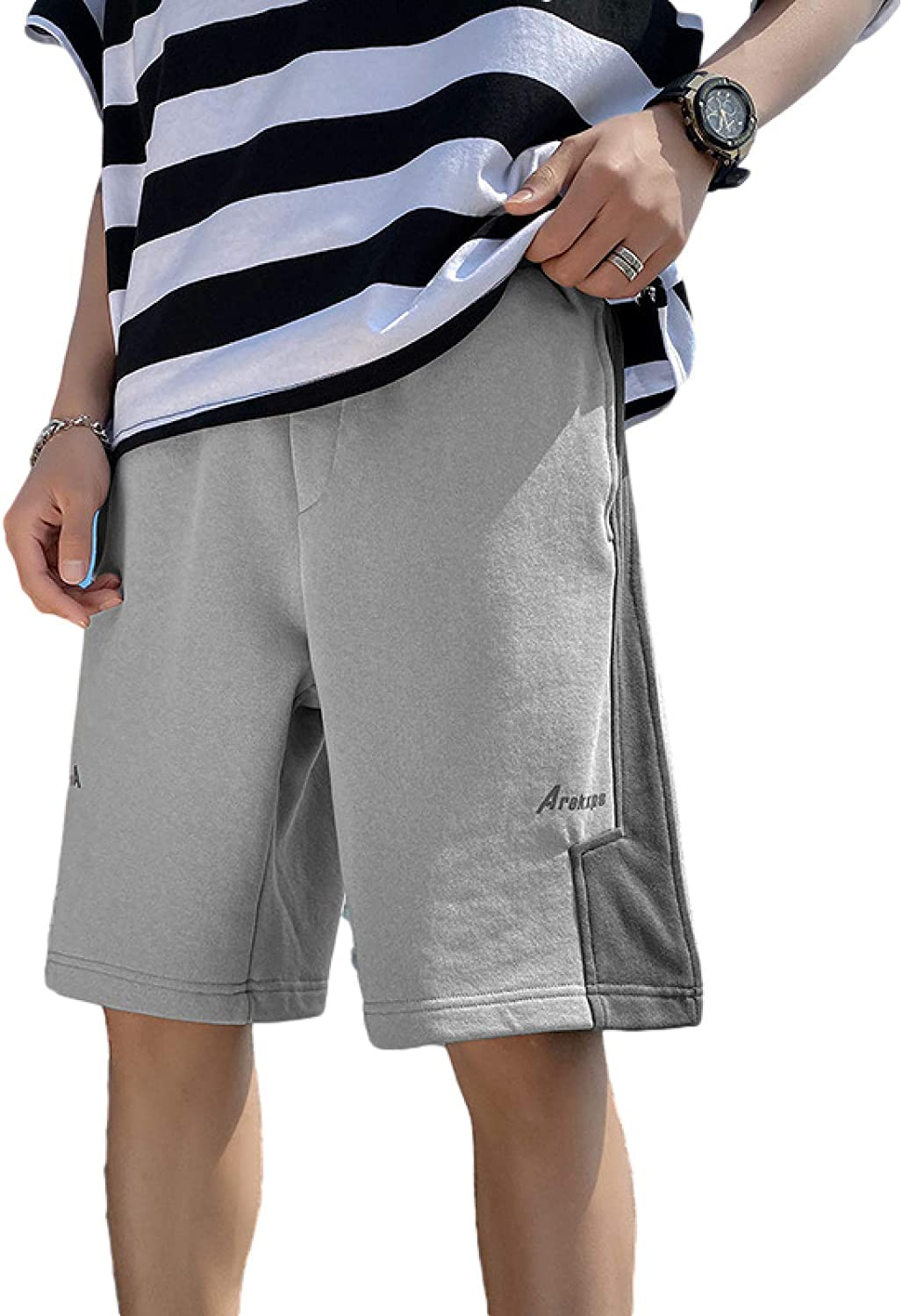 Wantess Men's Casual Shorts Fashion Color Contrast Stitching Trend Comfortable and