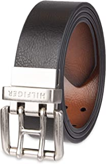 Reversible Leather Belt - Casual for Mens Jeans with Double Sided Strap and Silver Buckle