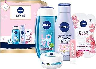 NIVEA Happy Time Geschenkset, Set mit Body Lotion, Pflegedusche, NIVEA Soft Creme, Gesichtsmaske und Labello Lip Scrub, Pf...