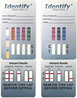 5 Pack Identify Diagnostics 7 Panel Drug Test Dip with 3 Adulterants OX, CRE, pH - Testing Instantly for 7 Different Drugs BUP, BZO, COC, MET, MOP, OXY, THC ID-CP7-DIP-ADULT (5)