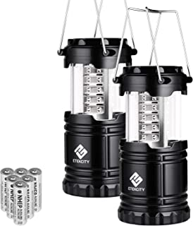 Etekcity 2 Pack Camping LED Lanterns Battery Operated Portable Flashlights Collapsible Camping Lights and Lanterns- Survival Kit for Emergency, Hurricane, Storms, Outage (CL10)