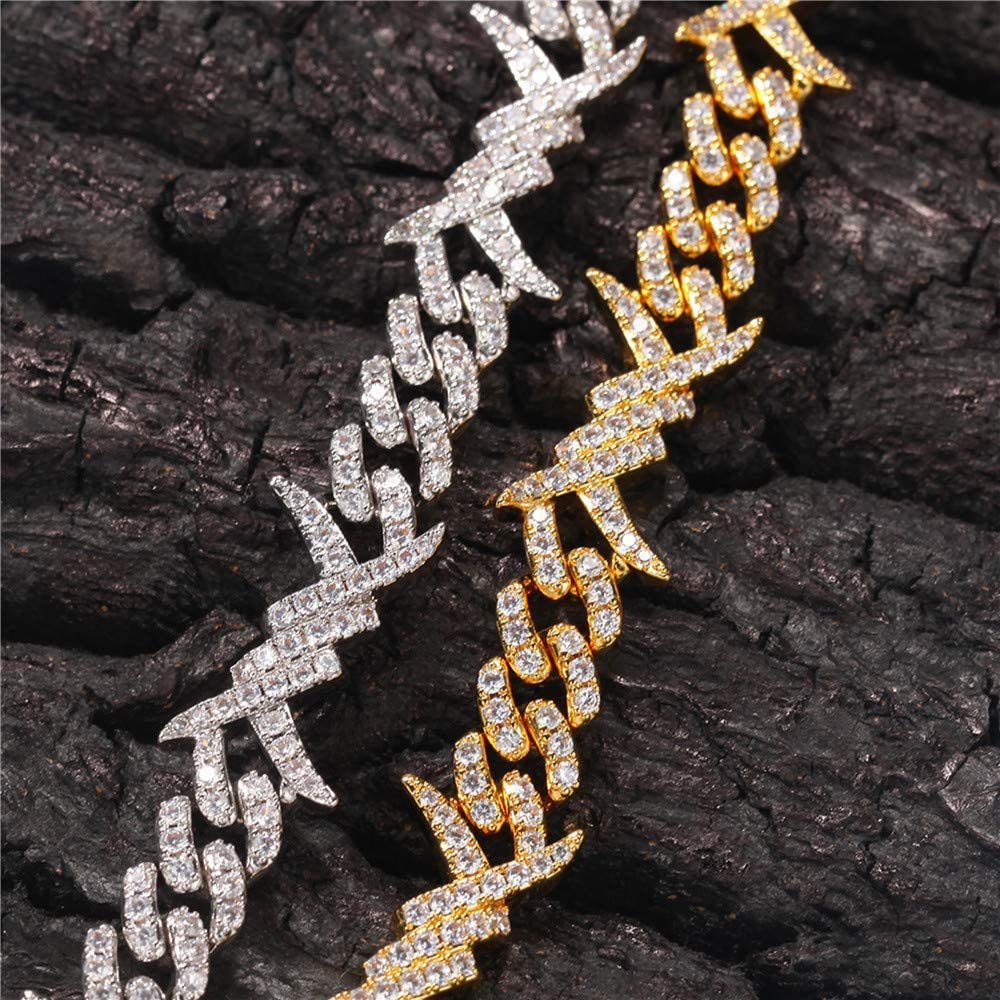 Fantex 18K Iced Out Thorns Barbwire Unique Charm Cuban Link Chain Necklace, Full Shiny CZ Lab Diamond Gold Plated Hip Hop Jewelry for Men Women