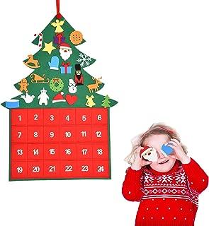 Felt Christmas Tree Advent Calendar 24 Days Countdown to Christmas Advent Calendar DIY Xmas Wall Hanging Tree Calendars for Home Door Wall Decor Supplies