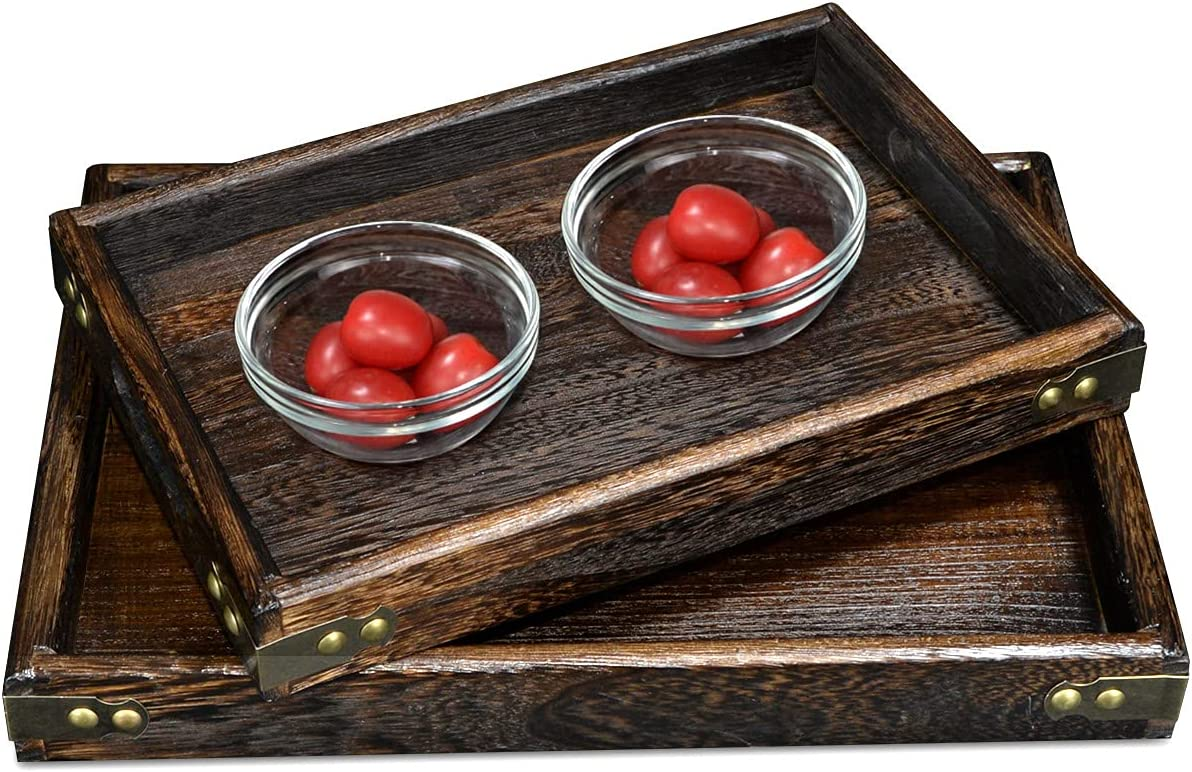 AoceanGo Wood Serving Trays with Handles Wooden Nesting Serving Tray Set of 2 Medium Small Trays for Breakfast in Bed Dinner Coffee Table Ottoman Butler Rustic Nested Food Tray for Lap Kitchen Party