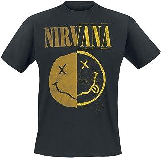 Nirvana Spliced Smiley Hombre Camiseta Negro, Regular
