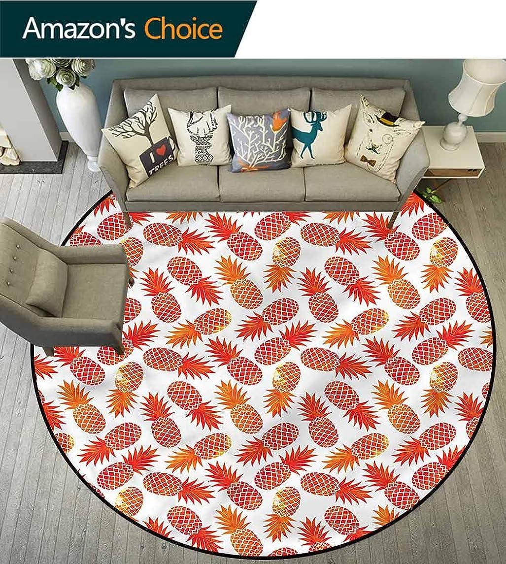 RUGSMAT Orange Small Round Rug Carpet,Vintage Tropical Exotic Design Non-Slip Fabric Round Rugs for Bedroom Diameter-55