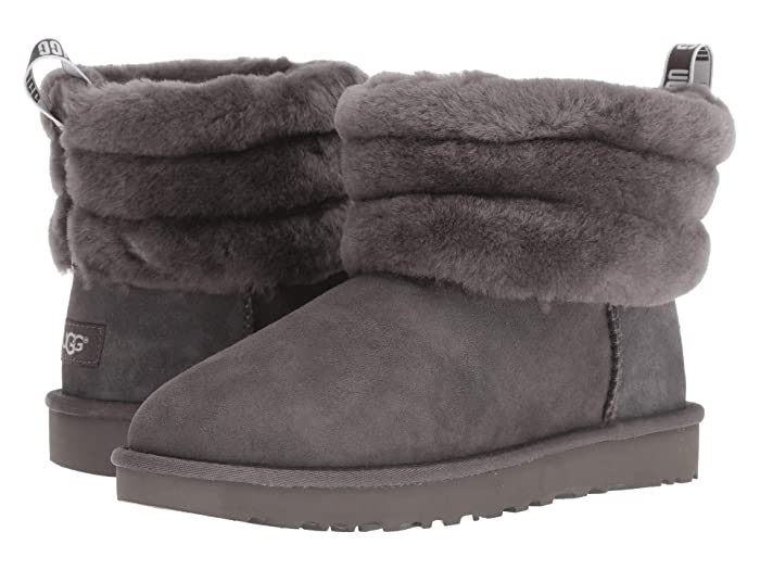 UGG  Fluff Mini Quilted (Charcoal) Womens Pull-on Boots