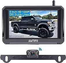 """دوربین پشتیبان بی سیم دیجیتال AMTIFO HD 1080P با مانیتور 5 """"برای کامیون ها ، ماشین ها ، مسافران ، ون ها ، سیستم مشاهده با سیگنال پایدار ، ضد آب IP69 ، دید فوق العاده در شب ، خطوط راهنما روشن / خاموش - A6"""