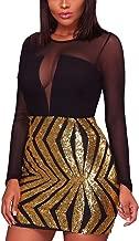 Blibea Women's Nightclub Sexy Sheer Mesh Bodycon Long Sleeve Sequin Club Dress