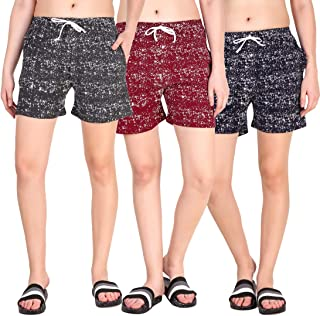 Kiba Retail Casual wear Cotton febric Check Printed Shorts Multi-Colored for Women/Girls Size (26, 28, 30, 32, 34) Pack of 3 Shorts