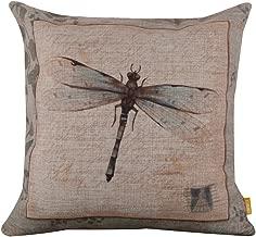 LINKWELL 4545cm Retro Vintage Dragonfly Linen Cushion Cover Postmark