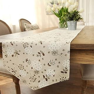 مفرش طاولة طبيعي مطبوع من القطن والكتان الكلاسيكي من Ethomes مقاس 33 × 248 سم