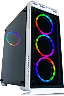 Gaming PC Desktop Computer White by Alarco Intel i5 3.10GHz,8GB Ram,1TB Hard Drive,Windows 10 pro,WiFi Ready,Video Card Nvidia GTX 650 1GB, 4 RGB Fans