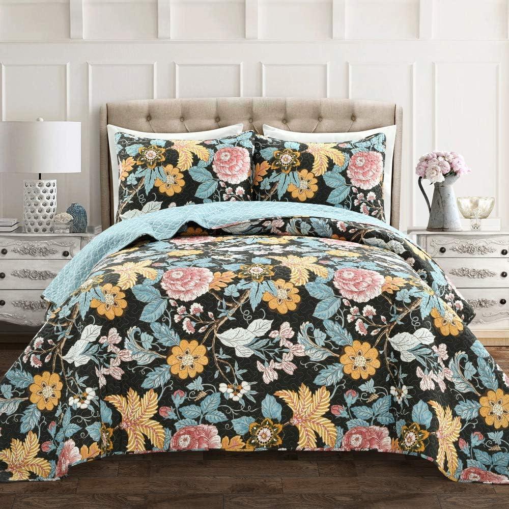 Lush Decor Sydney 3 Piece Quilt Set, Black & Blue, King