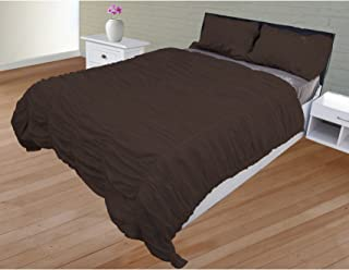The Forty Winks Designer 3 PC Ruched Duvet Set With Zipper & Corner Ties 100% Egyptian Cotton 600 Thread Count Luxurious & Hypoallergenic Decorative (Full/Queen, Chocolate)