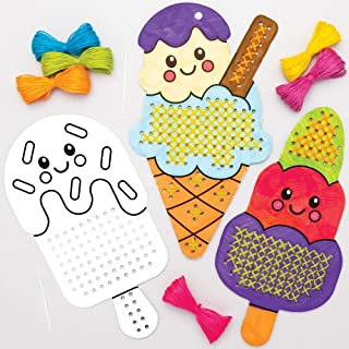 Baker Ross AT992 Ice Cream Color in Cross Stitch Kits - Pack of 5, Embroidery Kit for Beginners and for Kids Arts and Craf...