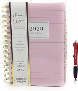 Blue Sky January2020- December 2020 Calendar Year, Daily & Monthly Vertical  Planner, Flexible Poly Cover, Twin-Wire Binding, 5