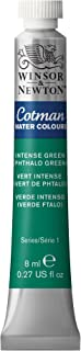 Winsor & Newton Watercolor 8ml/Tube Cotman Water Colour Paint, Intense Green (Phthalo Green)