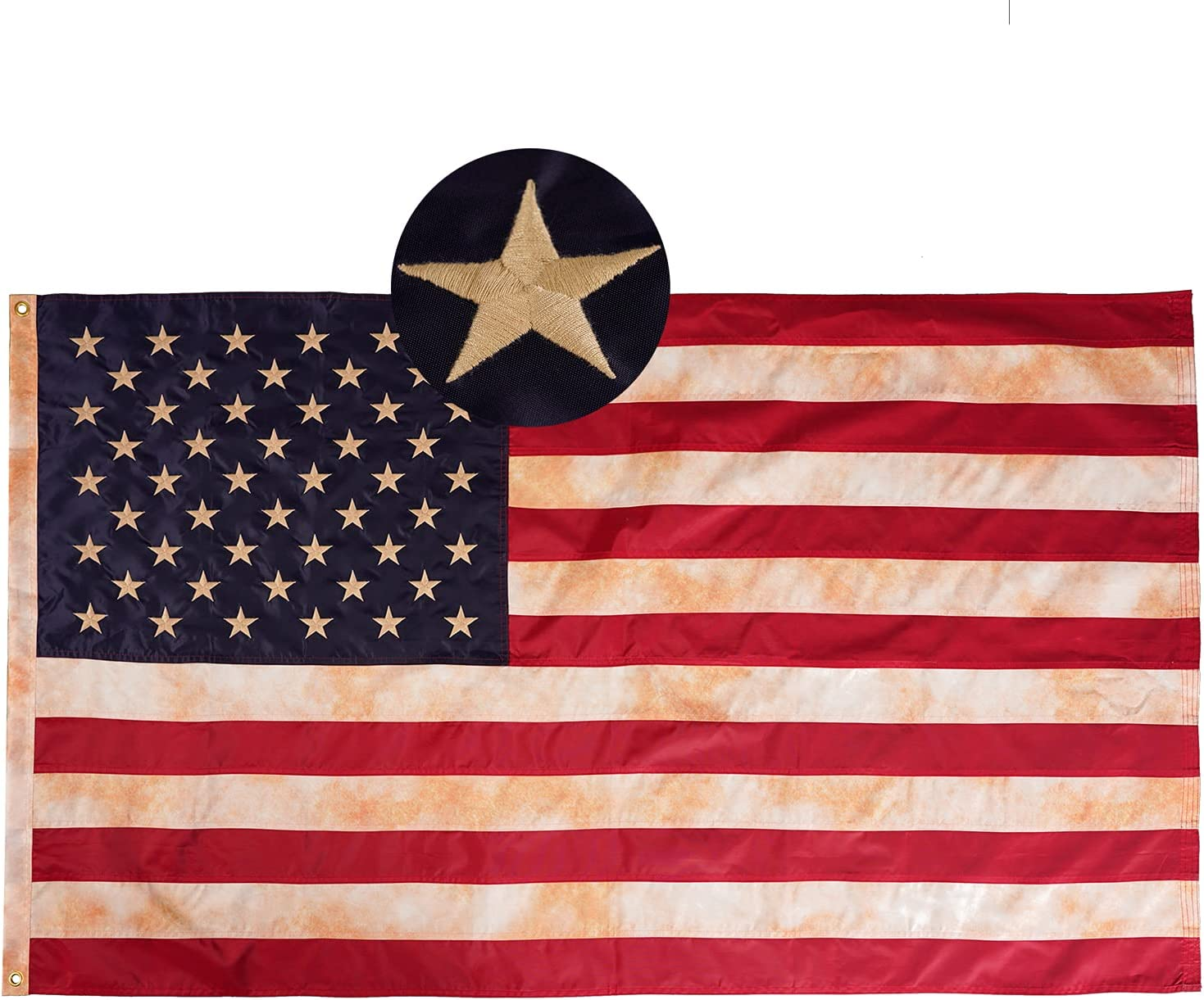 Flagolden Vintage Tea Stained American US Outdoor 3x5 Detroit Industry No. 1 Mall Flag Ba Ft