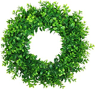 SHACOS 17 inch Artificial Boxwood Wreath Green Leaves Wreath Indoor Outdoor Greenery Wreath for Front Door Wall Window Party Decor(Boxwood ES2, 17 inch)