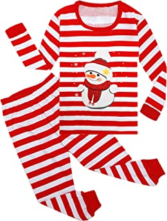 WWEXU Boys Christmas Pajamas Girls Long Sleeve Striped pjs Sets 100% Cotton Kids Clothes