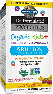 Garden of Life Dr. Formulated Probiotics Organic Kids+ plus Vitamin C & D, Strawberry Banana, Gluten Dairy & Soy Free Immu...