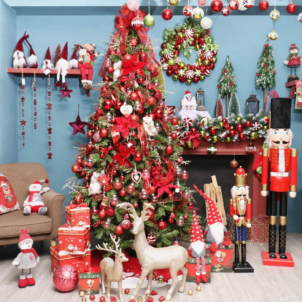Multi Style Shatter Proof and Reusable Christmas Tree Pendant Office and Supermarket Red etc. Used for Home Super Holiday 155 Piece of Christmas Ornaments