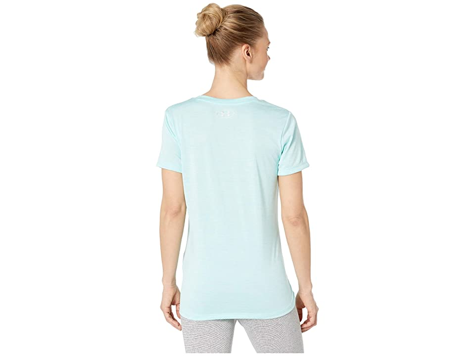 Under Armour UA Techtm Twist V-Neck (Neo Turquoise/Metallic Silver) Women's Short Sleeve Pullover, Blue