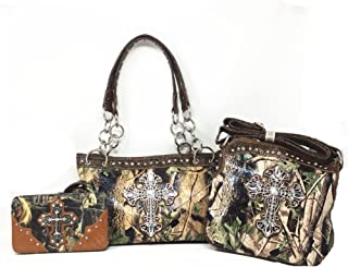 Premium Rhinestone Camouflage Cross Leather Women's Handbag Purse Messenger Bag Wallet 3 Piece Set Collection Multi-Color