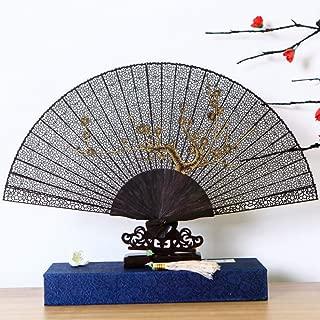 Laogg Folding Fan,Bamboo Sandalwood Handheld Folding Fan Chinese Style Gift Hollow Carving Female Style Ancient Wind Folding Fan Carving