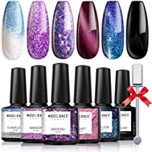 Modelones Gel Nail Polish Set - Cat Eyes Mood Black Glitter Shalack Color Changing Temperature Purple Gel Polish Nail Art ...