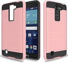 Wtiaw LG Tribute 5 /LG K7/ LG Treasure LTE/LG LS675/LG MS330/LG Escape 3/LG Phoenix 2/ LG K373 case, [TPU+PC Material] [Brushed Metal Texture] Hybrid Dual Layer Defender Case for LG K7-LS Rose Gold