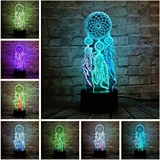 Valentine Wind Chimes Table Lamp Switch Dream Catcher 3D Touch Change Night Light Bedroom Party Desk Decor Lamp Child Xmas...