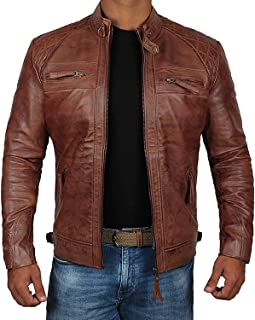 Brown Leather Jacket Mens - Cafe Racer Real Lambskin Leather Distressed Motorcycle Jacket - brown - XXXL