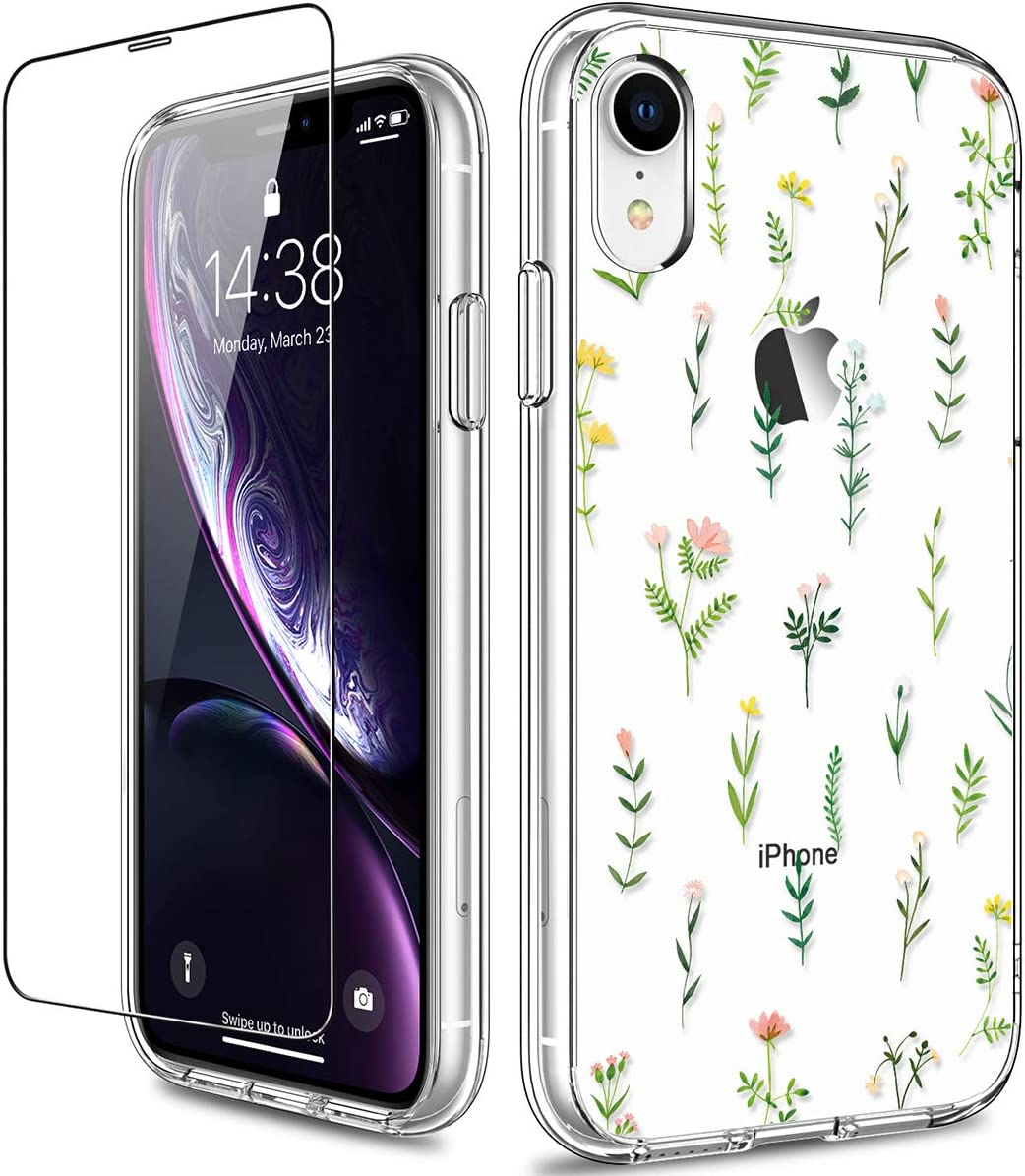 GiiKa iPhone XR Case with Screen Protector, Clear Heavy Duty Protective Case Floral Girls Women Shockproof Hard PC Back Case with Slim TPU Bumper Cover Phone Case for iPhone XR, Small Grass