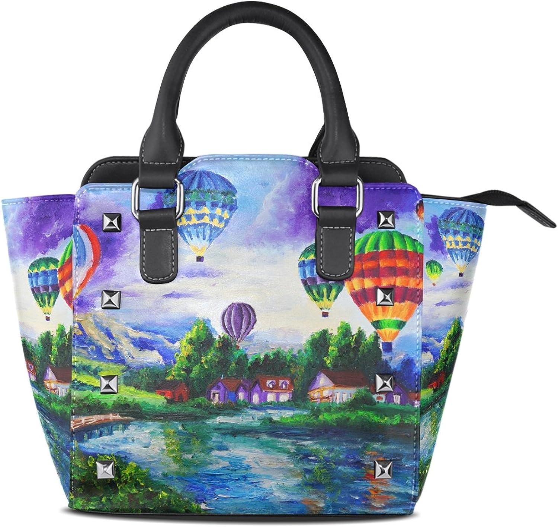 My Little Nest Women's Top Handle Satchel Handbag Oil Painting Balloon Ladies PU Leather Shoulder Bag Crossbody Bag