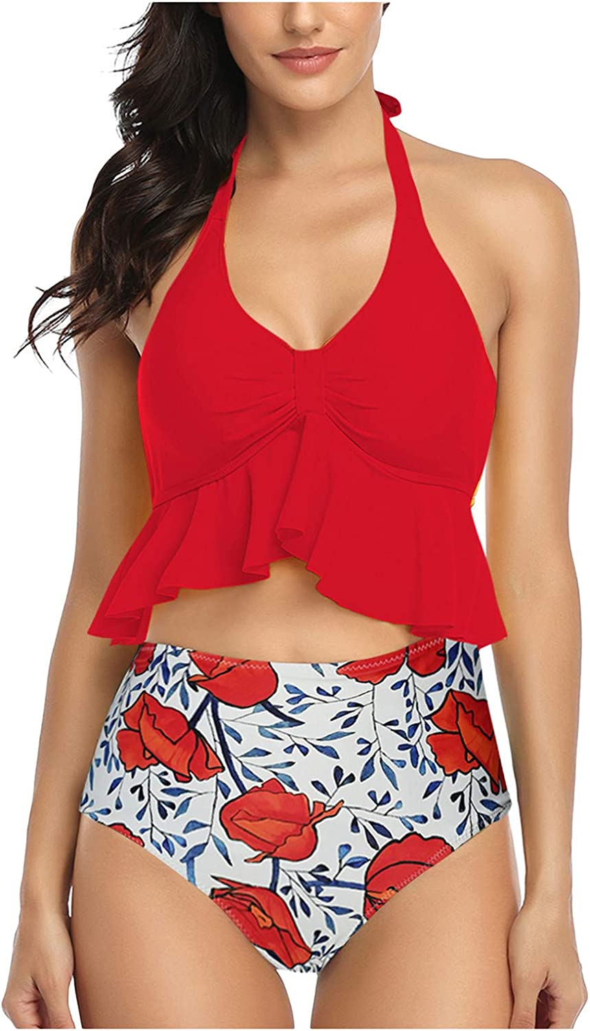 Two Piece Swimsuits for Women,Sunflower Bathing Suit Halter Bandage Padded Top High Waisted Swim Bottom Tankini