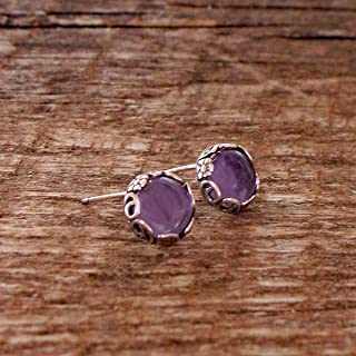 Recycled Vintage Early 1900's Purple Medicine Bottle Sterling Silver Botanical Collection Stud Earrings