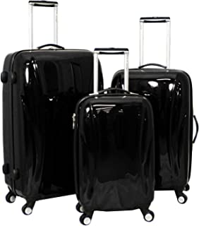 Chariot Belluno 3-Piece Hardside Lightweight Upright Spinner Luggage Set, Black, One Size