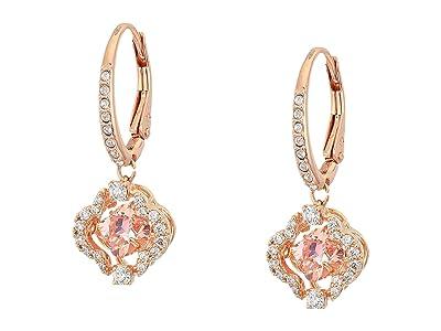 Swarovski Sparkling Dance Clover Pierced Earrings, Pink, Rose Gold Tone Plated (CZ Fancy Morganite) Earring