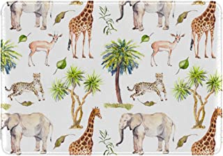 Mydaily Giraffe Elephant Cheetah Antelope Palm Tree Leather Passport Holder Cover Case Protector