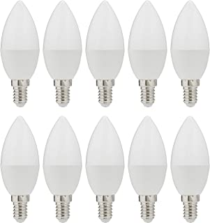 Narken 10 Pieces/Pack C38 7W E14 Small Edison Screw Daylight(Cool white) 6500K LED Power Saving Plastic-coated Aluminum Ca...