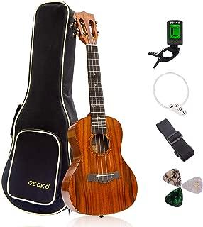 GECKO Ukulele Concert Acacia (KOA) Polished 23 inch Ukulele, 4 String with Aquila Strings Hawaii Guitar Carry bag