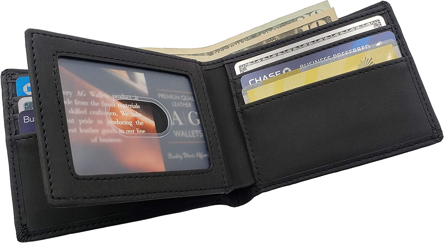 AG Wallets Mens Vegan Leather Bifold Wallet, RFID Protection, Faux Leather Credit Card Holder
