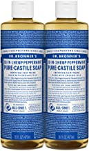 Dr. Bronner's Pure-Castile Liquid Soap Shower and Travel Pack – Peppermint 16oz. (2 Pack)