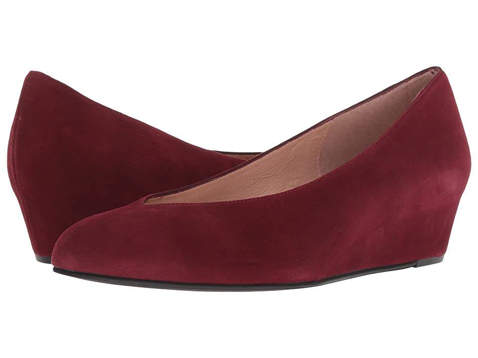 French Sole Cubic Wedge Heel (Port Wine Suede) Women
