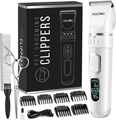 Dog Clippers Professional Heavy Duty Dog Grooming Clipper 3-Speed Low Noise High Power Rechargeable Cordless Pet Groo...