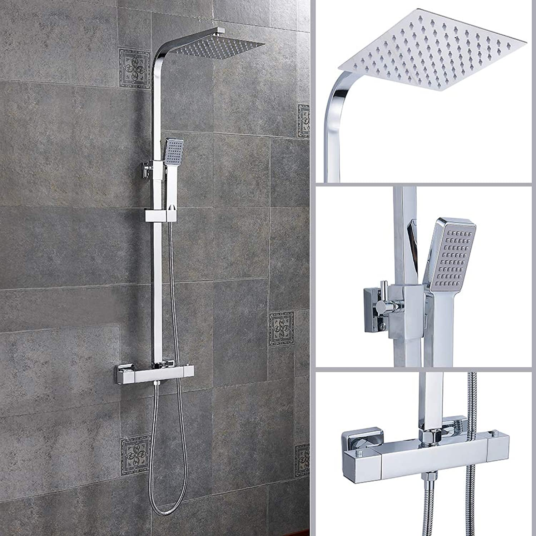 Bathroom Shower Mixer Set 8  Twin Square Head Thermostatic Bar Shower Mixer Bathroom Chrome Valve Tap Shower Taps Set