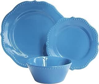 American Atelier 6934-12-WM Scallop 16 Piece Round Dinnerware Set, 11x11, Sapphire Blue